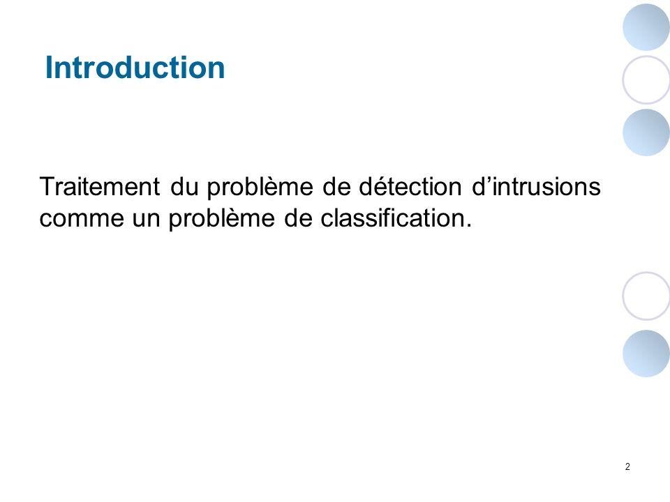 Introduction Traitement du problème de détection d'intrusions comme un problème de classification.