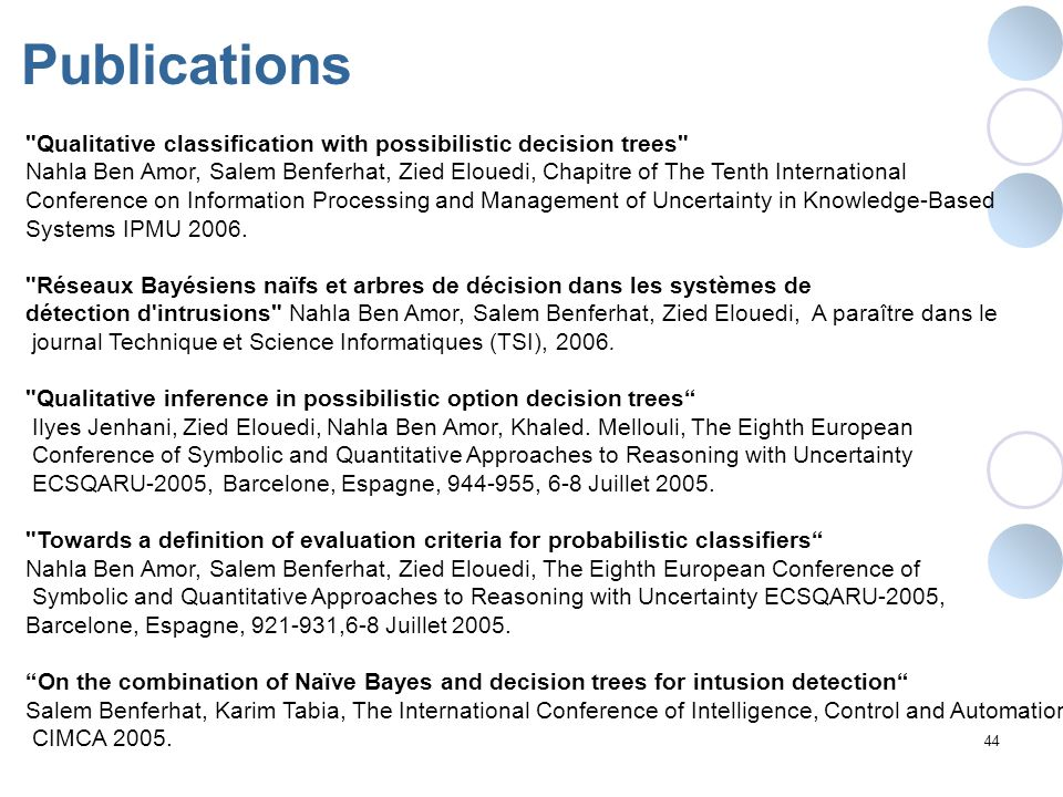 Publications Qualitative classification with possibilistic decision trees