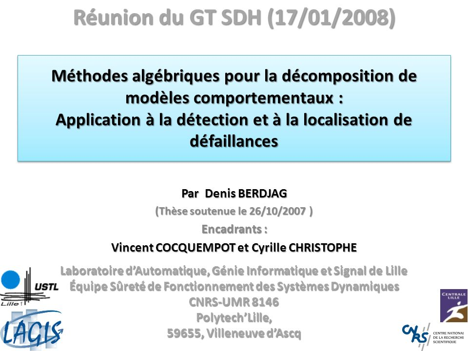 Réunion du GT SDH (17/01/2008)