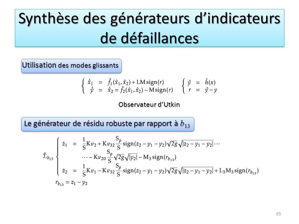 Synthèse des générateurs d'indicateurs de défaillances