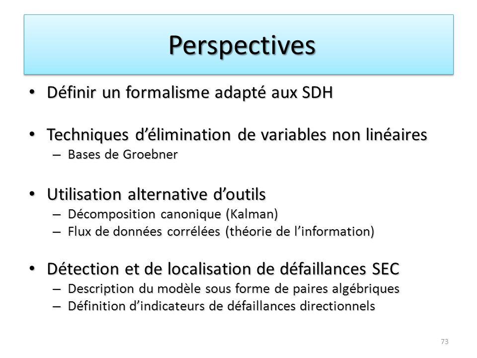 Perspectives Définir un formalisme adapté aux SDH
