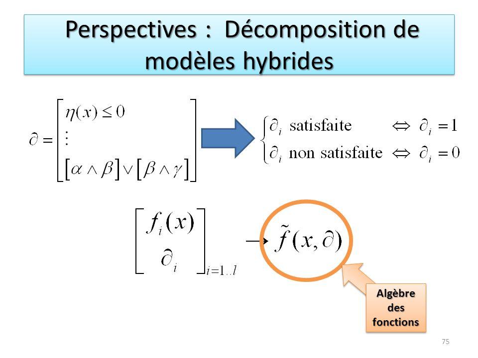 Perspectives : Décomposition de modèles hybrides