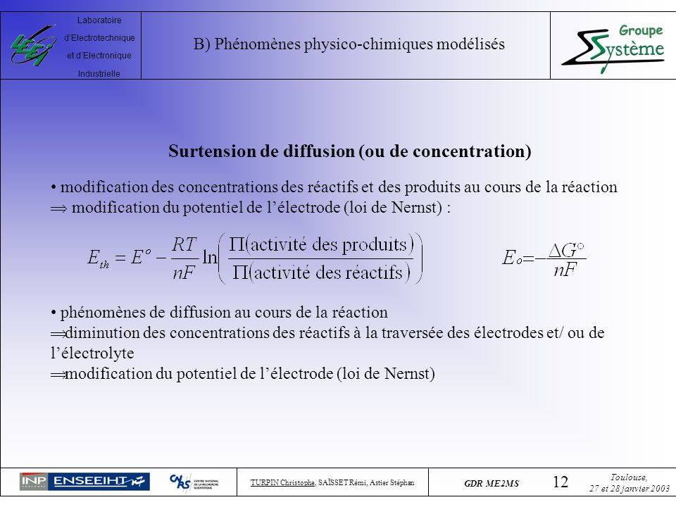 Surtension de diffusion (ou de concentration)