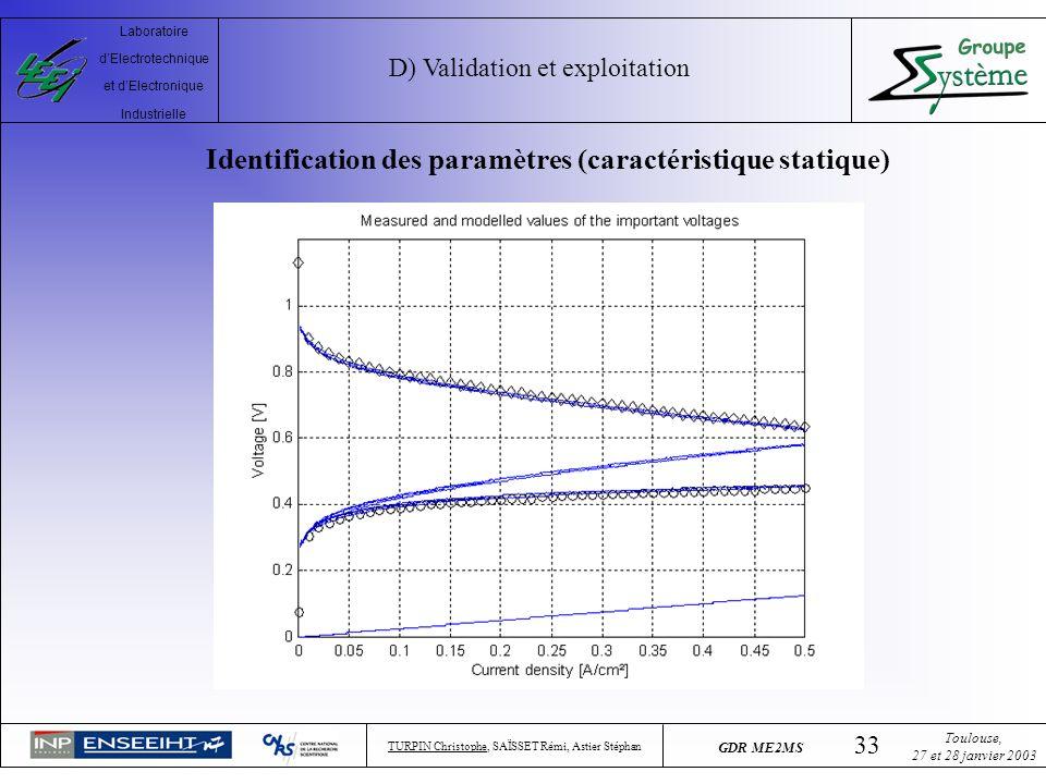 Identification des paramètres (caractéristique statique)
