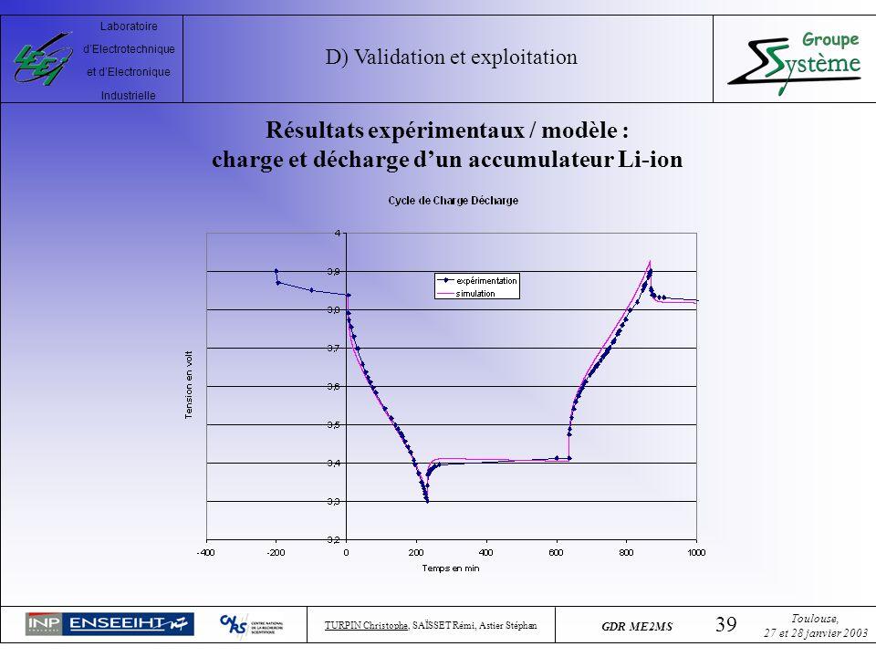 D) Validation et exploitation