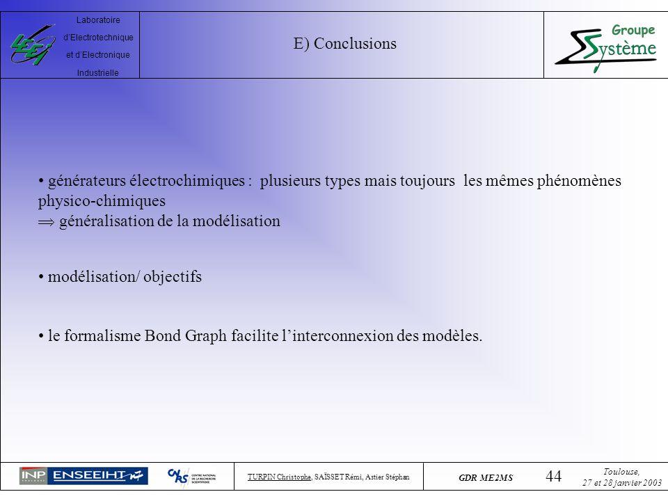 E) Conclusions générateurs électrochimiques : plusieurs types mais toujours les mêmes phénomènes physico-chimiques.