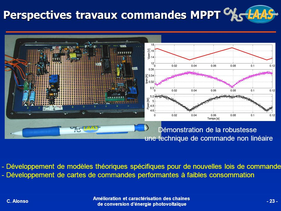 Perspectives travaux commandes MPPT
