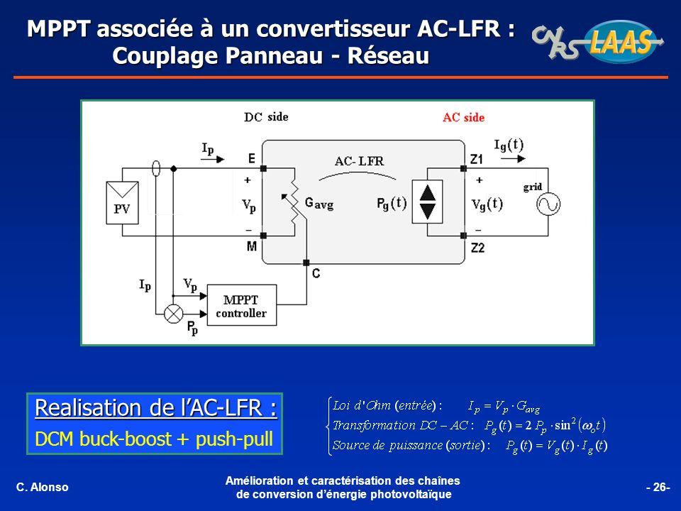MPPT associée à un convertisseur AC-LFR : Couplage Panneau - Réseau