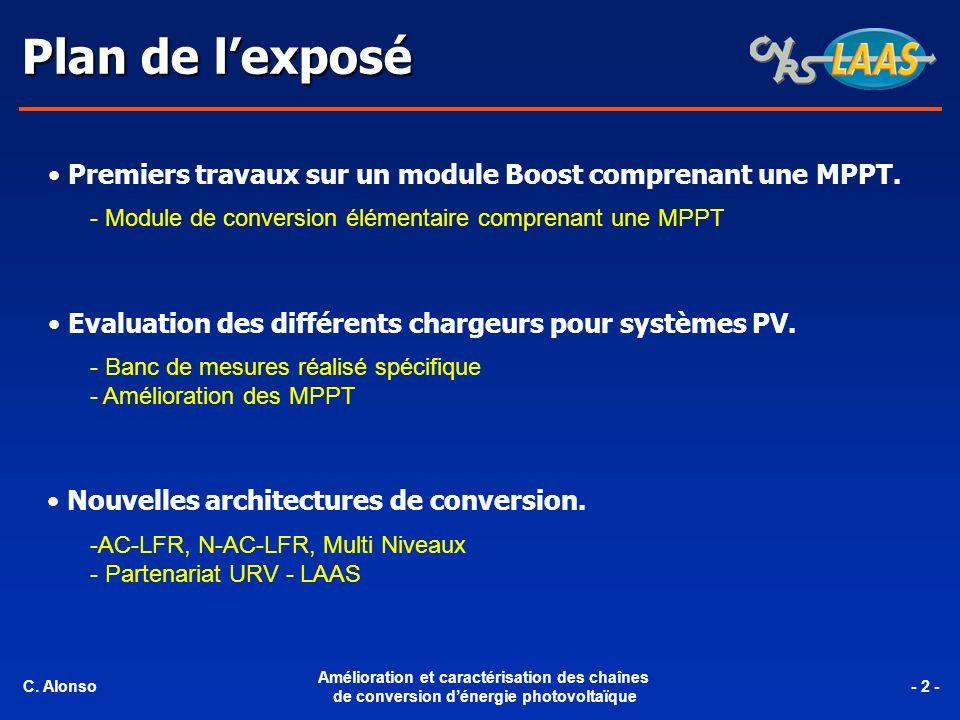 Plan de l'exposé Premiers travaux sur un module Boost comprenant une MPPT. - Module de conversion élémentaire comprenant une MPPT.
