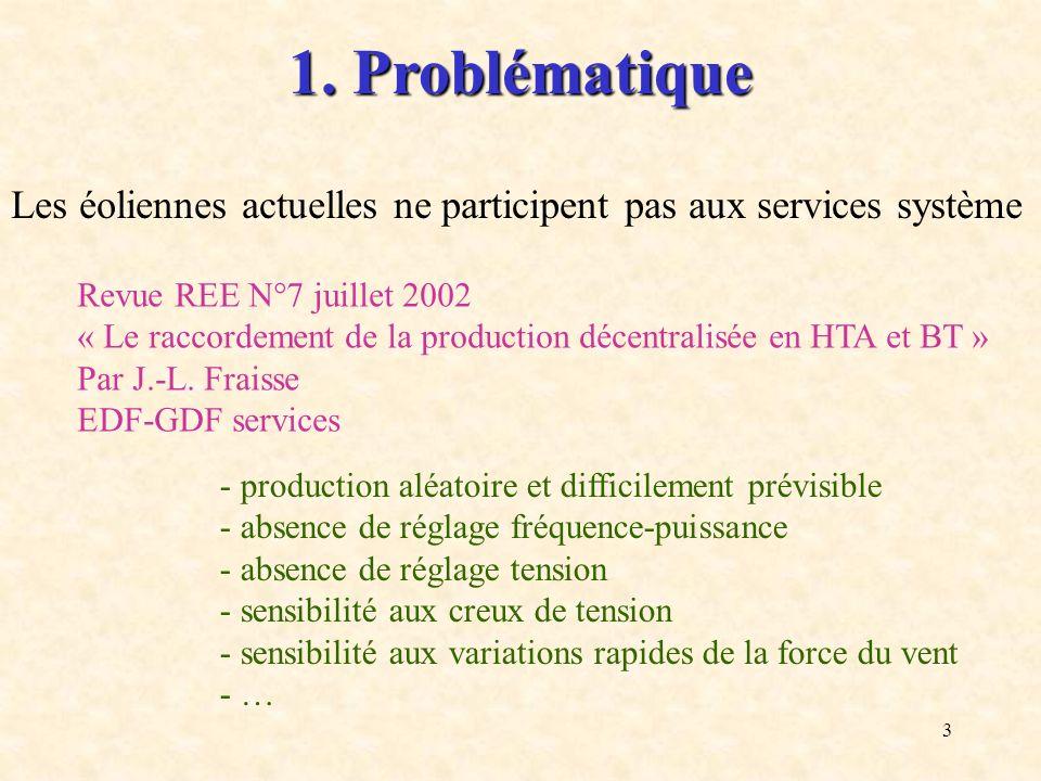 1. Problématique Les éoliennes actuelles ne participent pas aux services système. Revue REE N°7 juillet 2002.