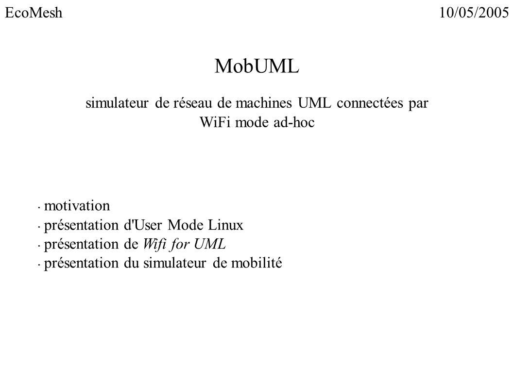 simulateur de réseau de machines UML connectées par WiFi mode ad-hoc