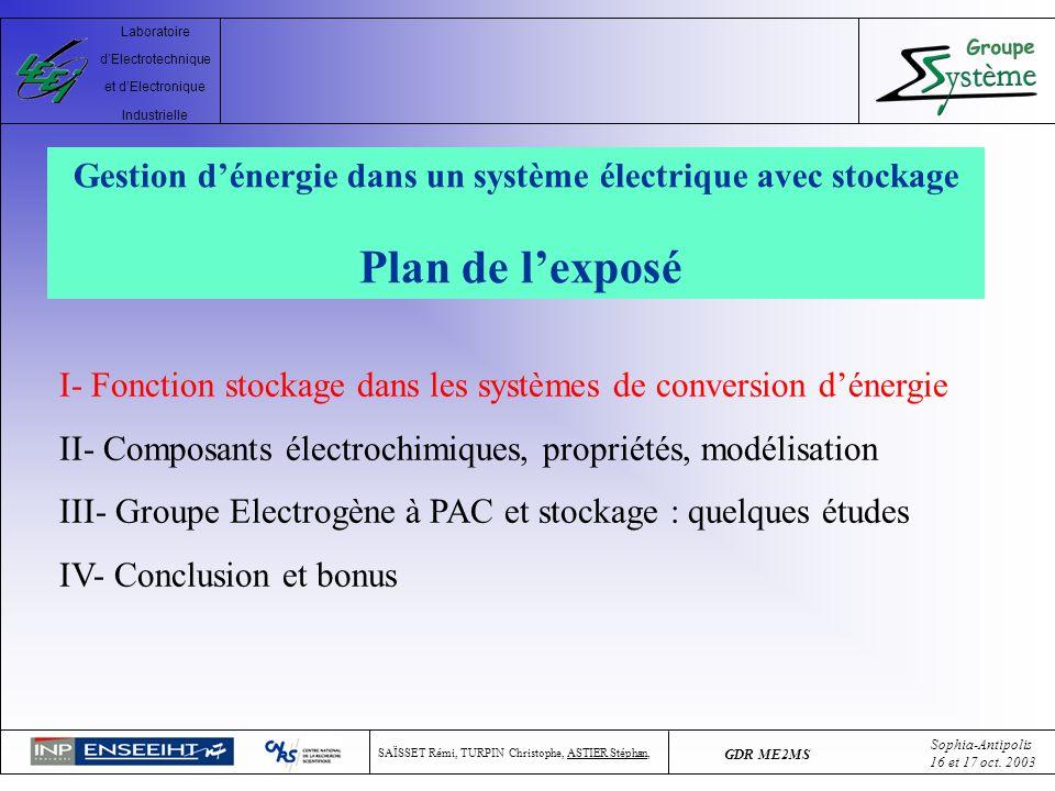 Gestion d'énergie dans un système électrique avec stockage