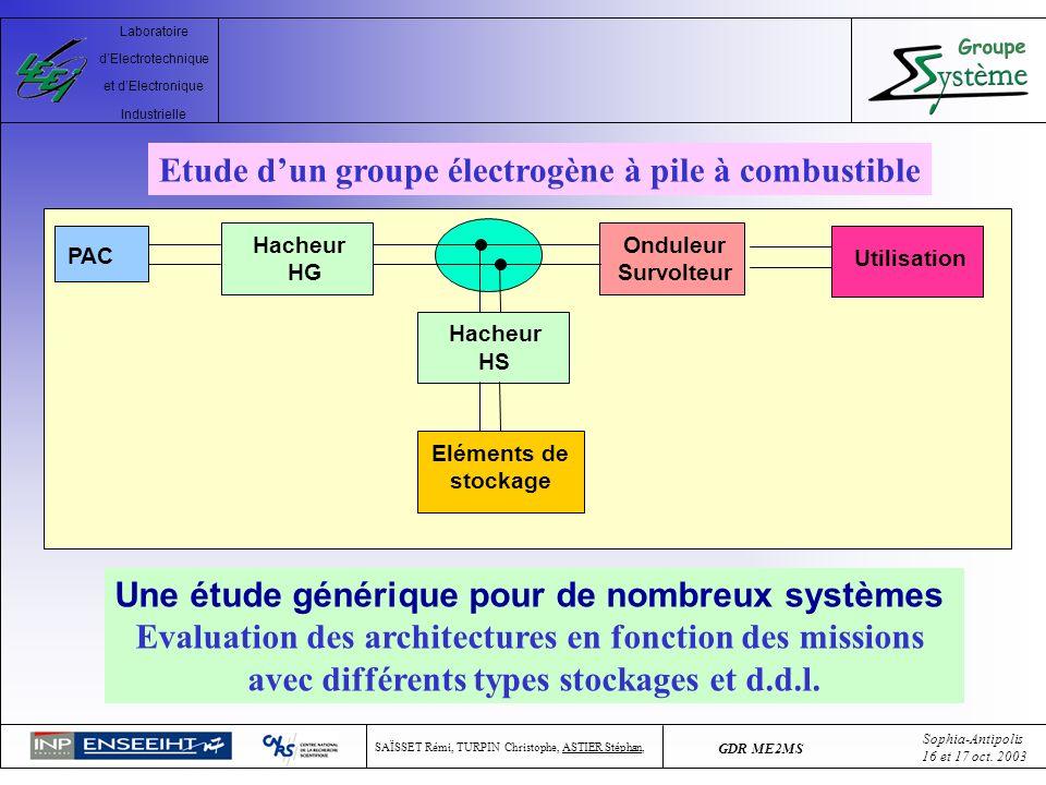 Etude d'un groupe électrogène à pile à combustible