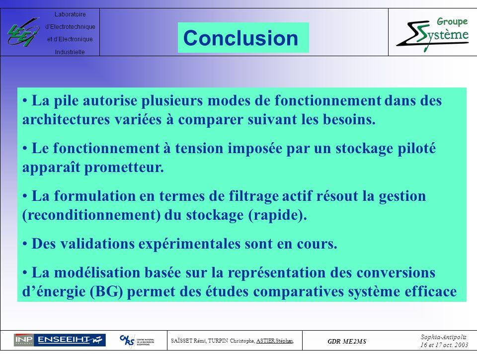 ConclusionLa pile autorise plusieurs modes de fonctionnement dans des architectures variées à comparer suivant les besoins.