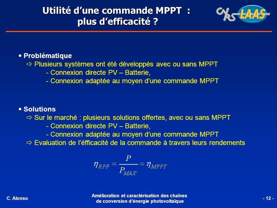 Utilité d'une commande MPPT :