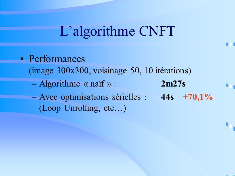 L'algorithme CNFT Performances (image 300x300, voisinage 50, 10 itérations) Algorithme « naïf » : 2m27s.