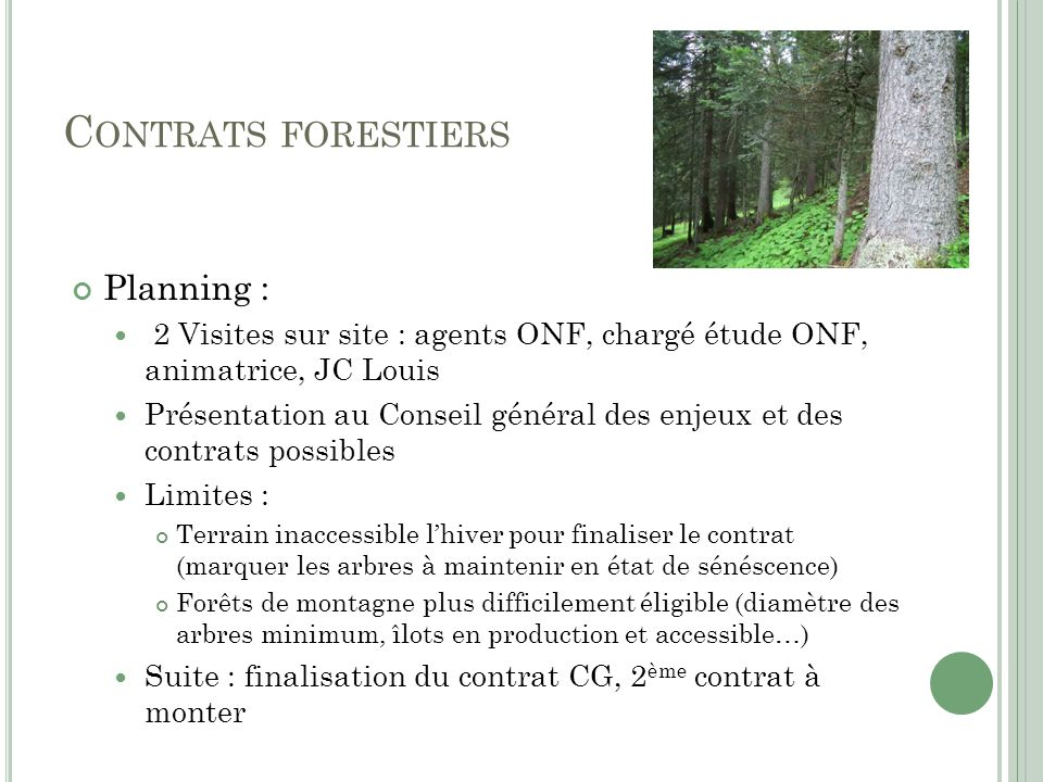 Contrats forestiers Planning :