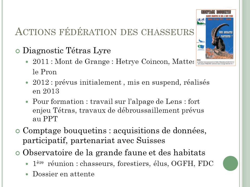Actions fédération des chasseurs