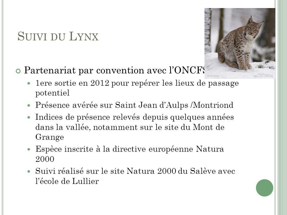 Suivi du Lynx Partenariat par convention avec l'ONCFS