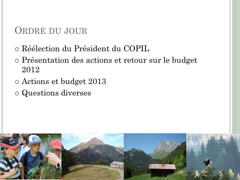 Ordre du jour Réélection du Président du COPIL
