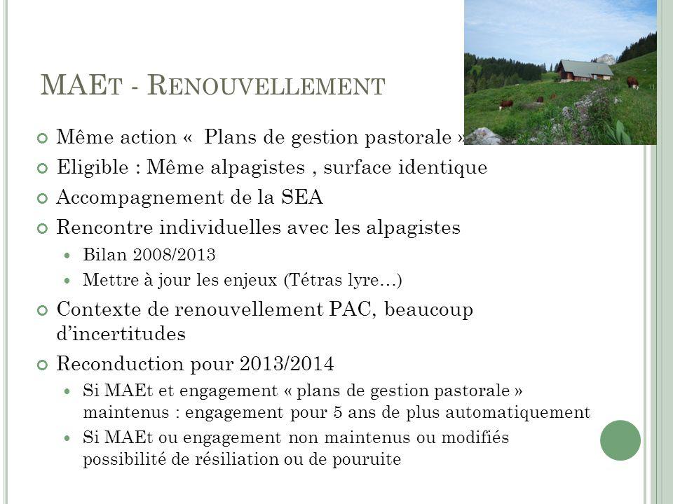 MAEt - Renouvellement Même action « Plans de gestion pastorale »
