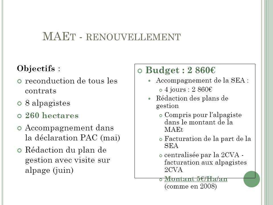 MAEt - renouvellement Budget : 2 860€ Objectifs :