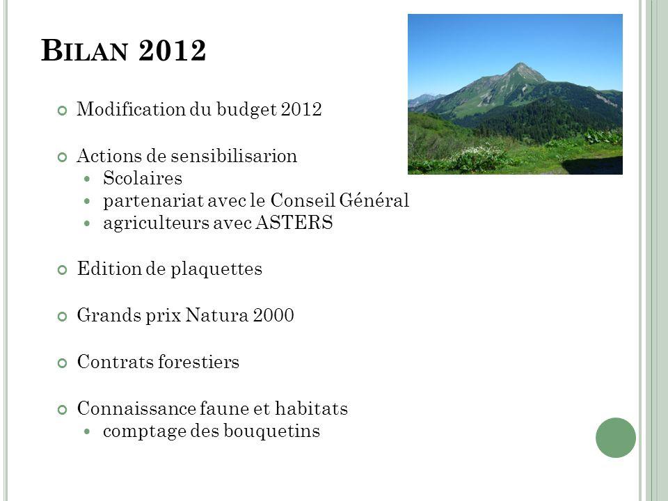 Bilan 2012 Modification du budget 2012 Actions de sensibilisarion