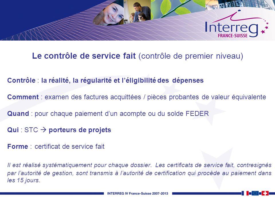 Le contrôle de service fait (contrôle de premier niveau)
