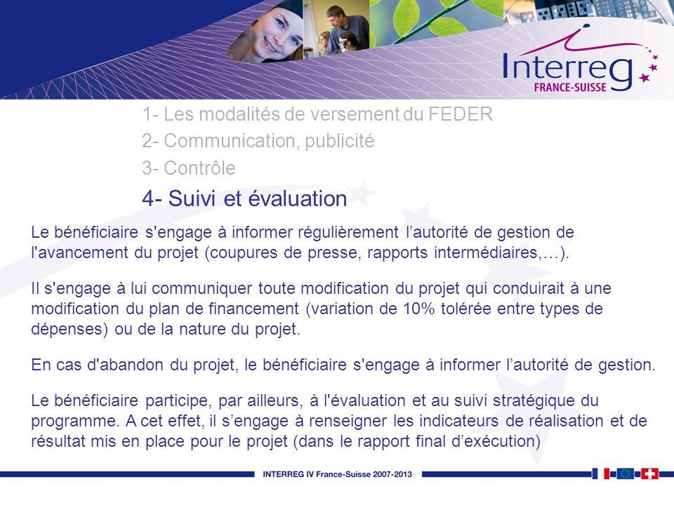 4- Suivi et évaluation 1- Les modalités de versement du FEDER