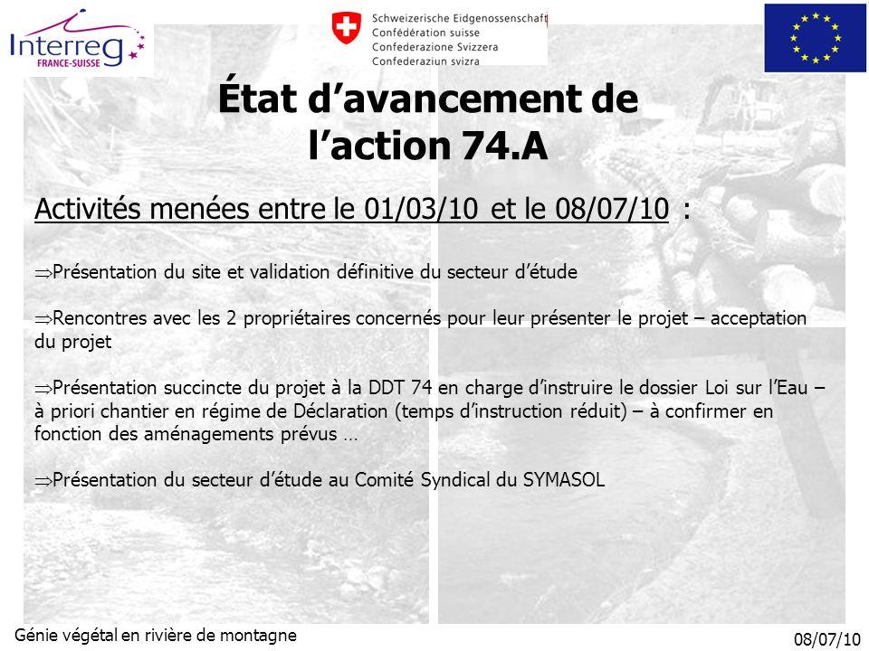 État d'avancement de l'action 74.A