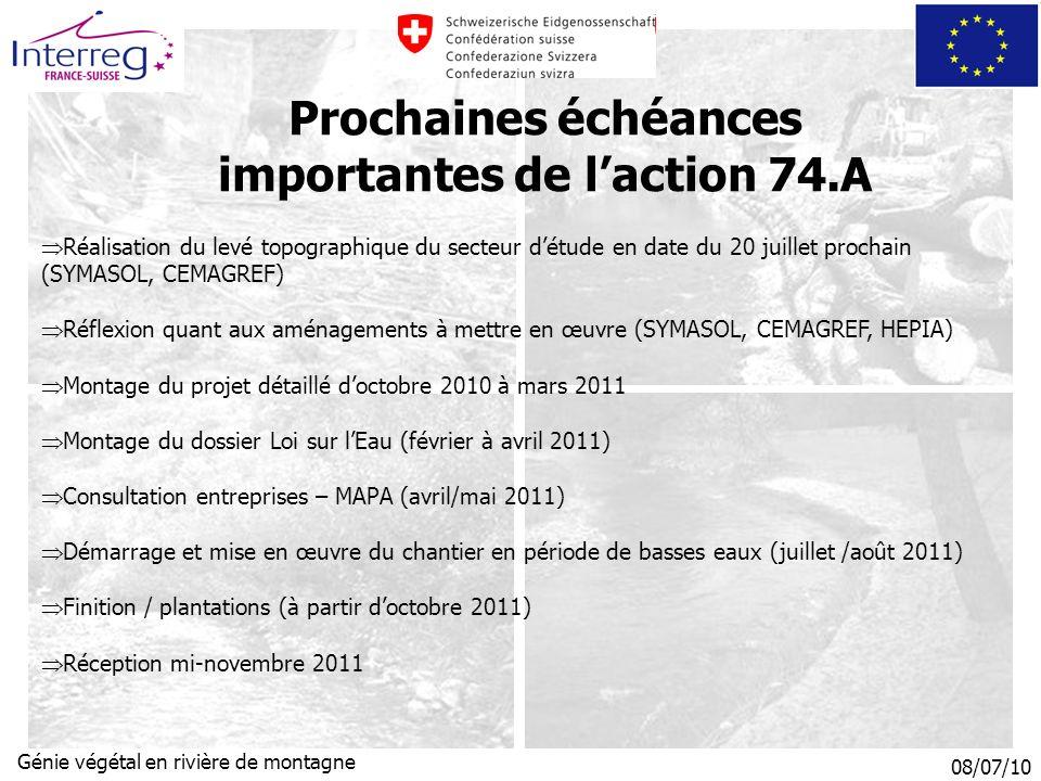 Prochaines échéances importantes de l'action 74.A