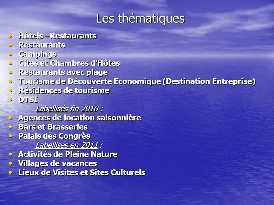 Les thématiques Hôtels –Restaurants Restaurants Campings