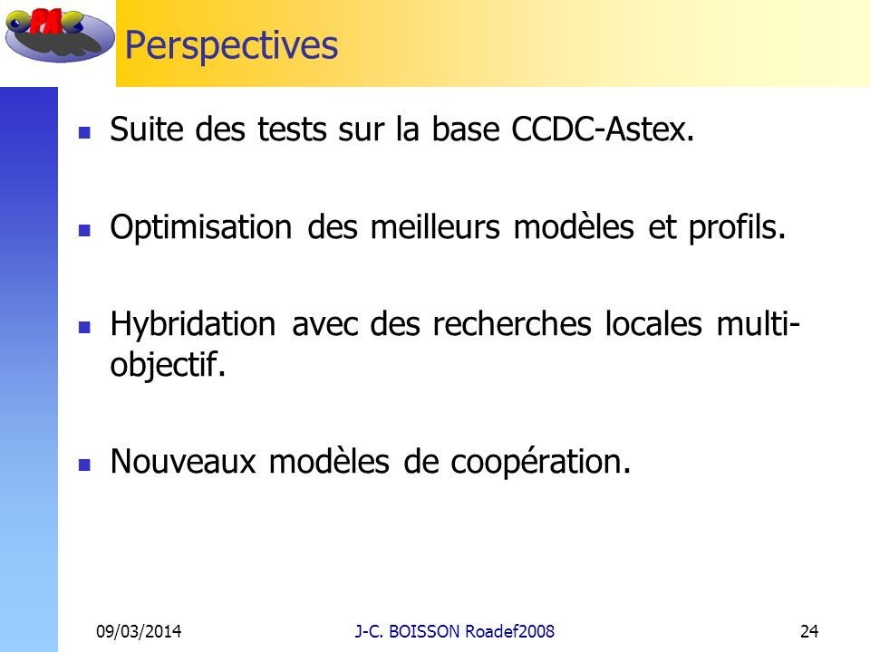 Perspectives Suite des tests sur la base CCDC-Astex.
