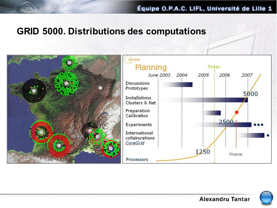 GRID 5000. Distributions des computations