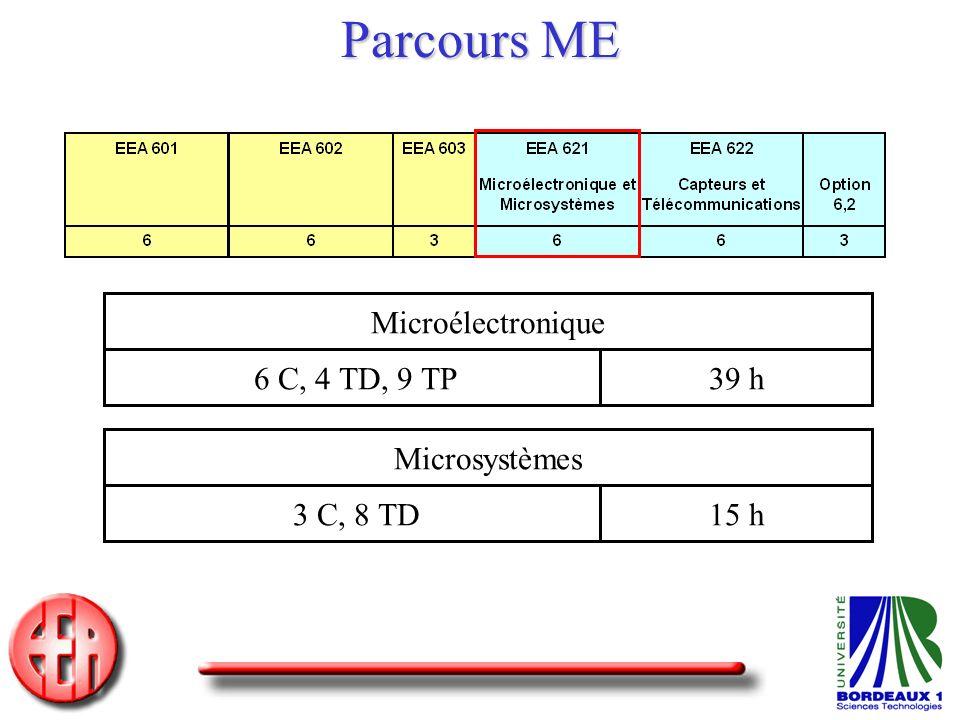 Parcours ME Microélectronique 6 C, 4 TD, 9 TP 39 h Microsystèmes