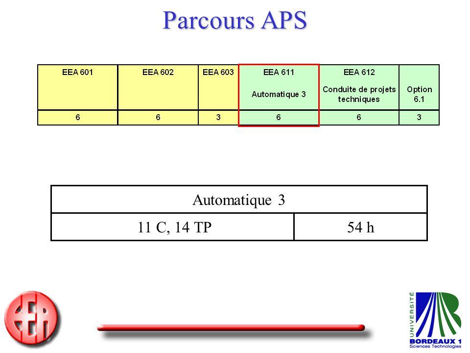 Parcours APS Automatique 3 11 C, 14 TP 54 h