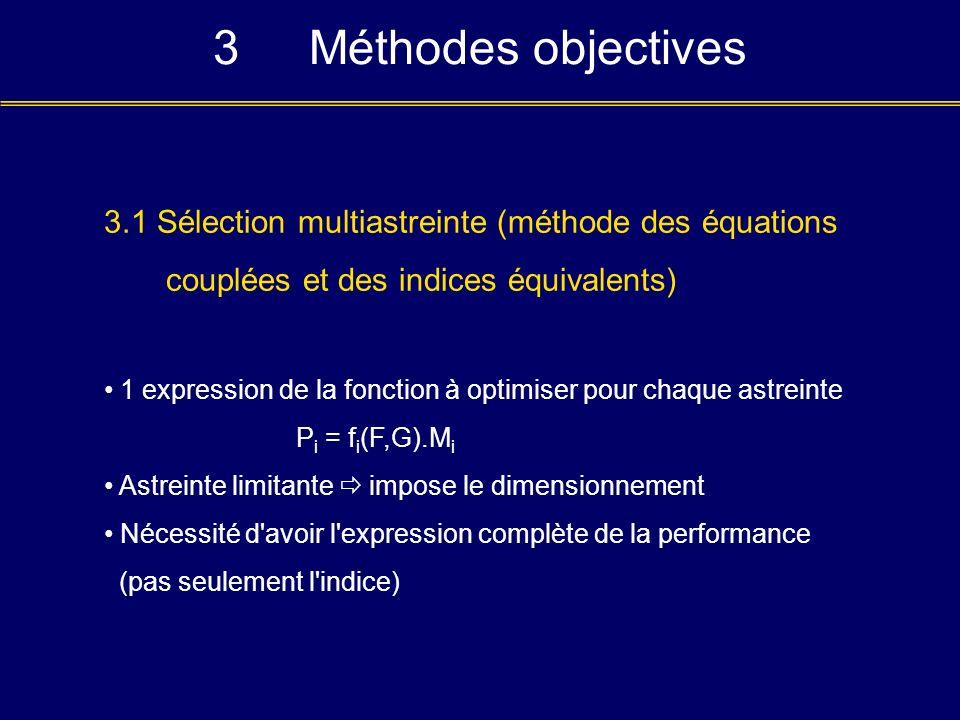 3 Méthodes objectives 3.1 Sélection multiastreinte (méthode des équations. couplées et des indices équivalents)