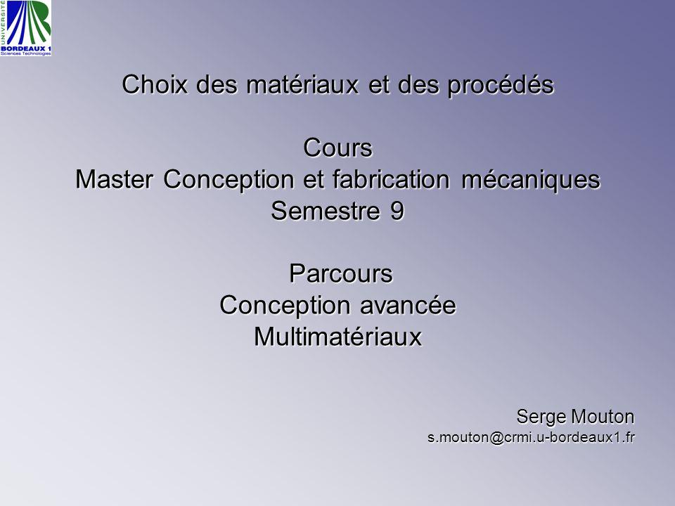 Choix des matériaux et des procédés Cours