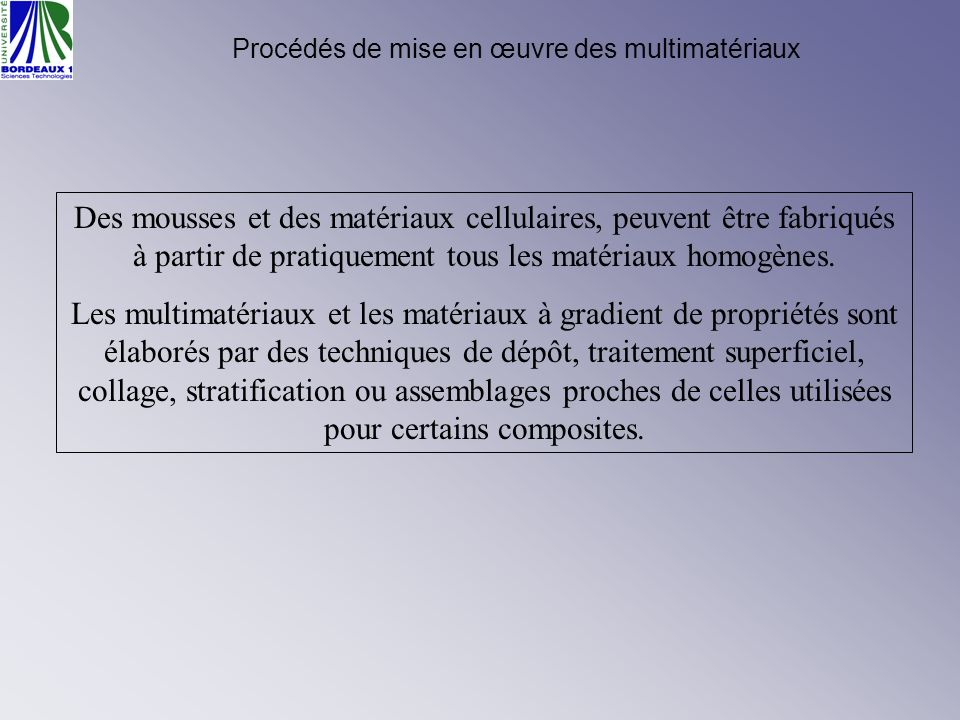 Procédés de mise en œuvre des multimatériaux