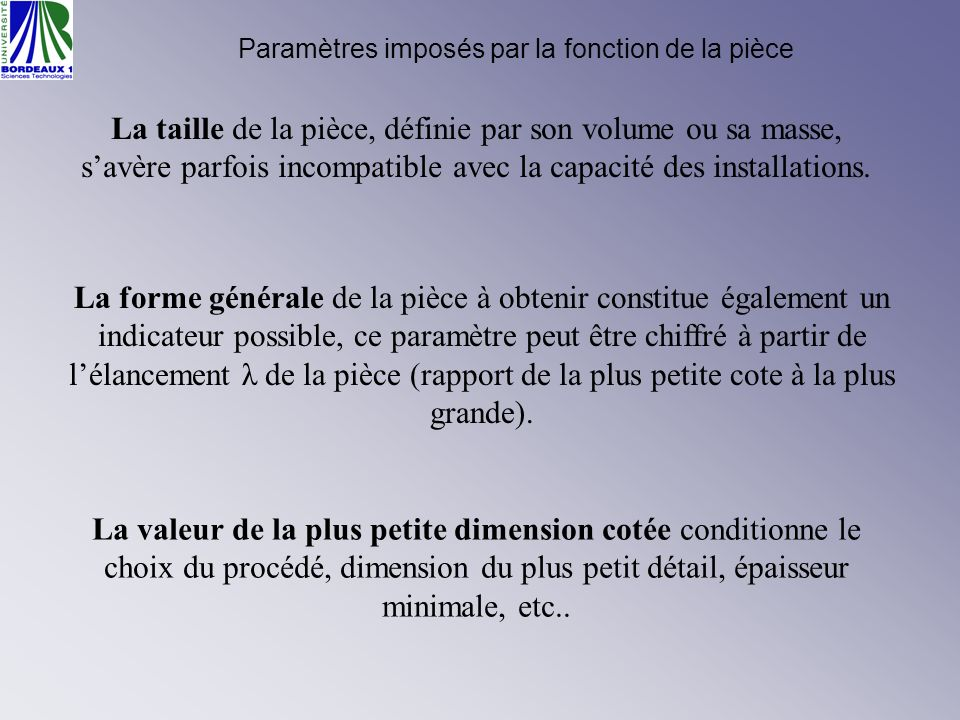 Paramètres imposés par la fonction de la pièce