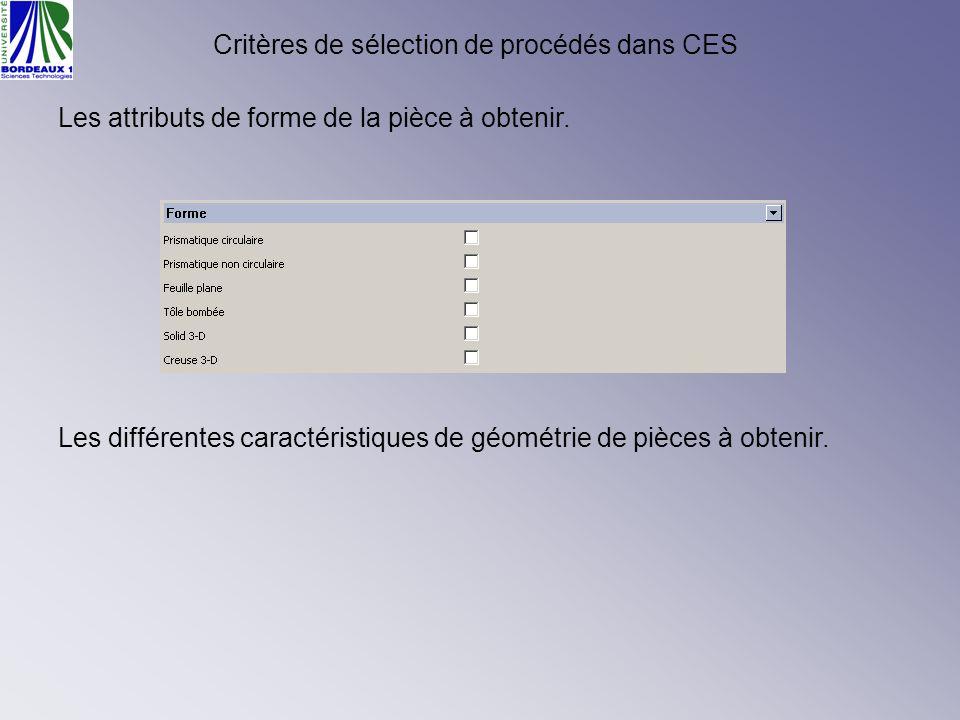 Critères de sélection de procédés dans CES