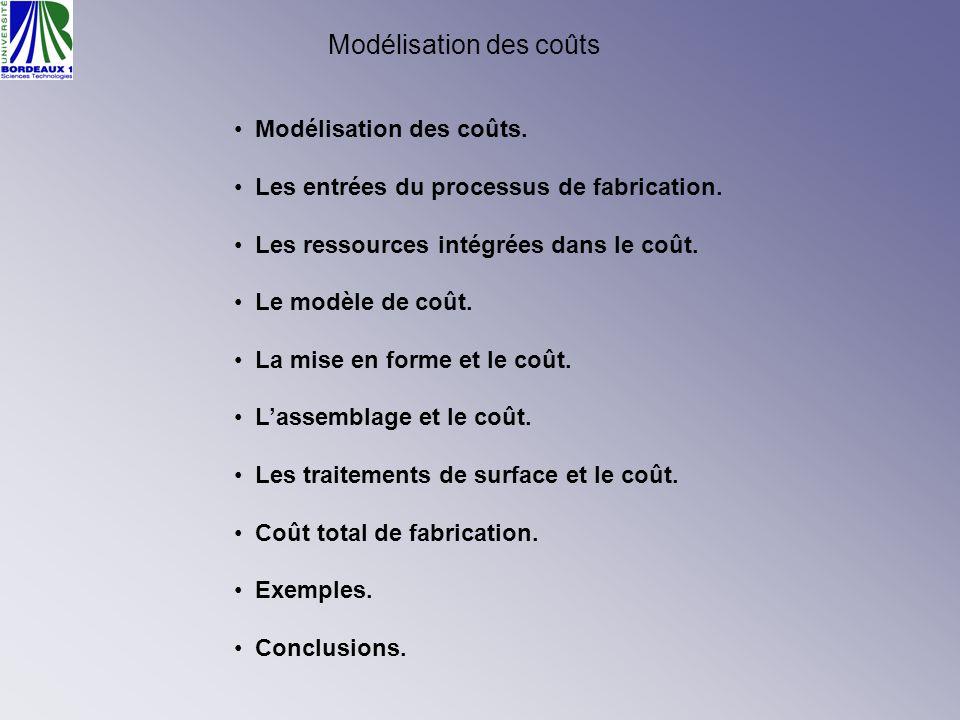 Modélisation des coûts