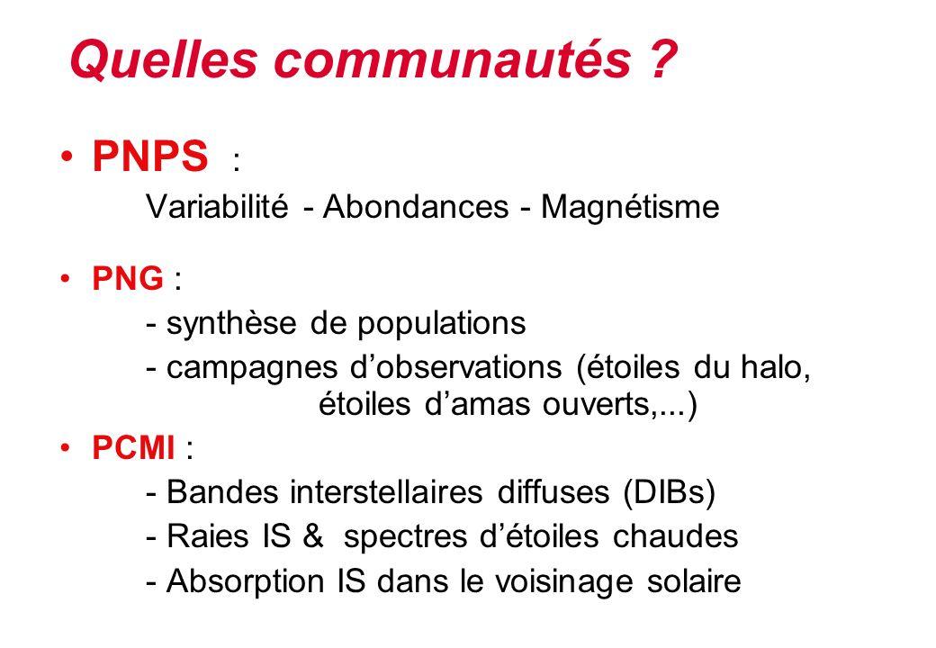Quelles communautés PNPS : Variabilité - Abondances - Magnétisme