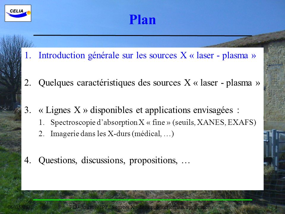 FD - Journée IPF Sources X : de la production aux applications