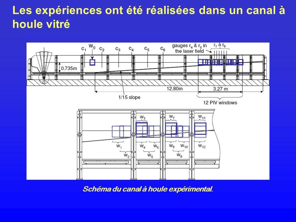 Les expériences ont été réalisées dans un canal à houle vitré