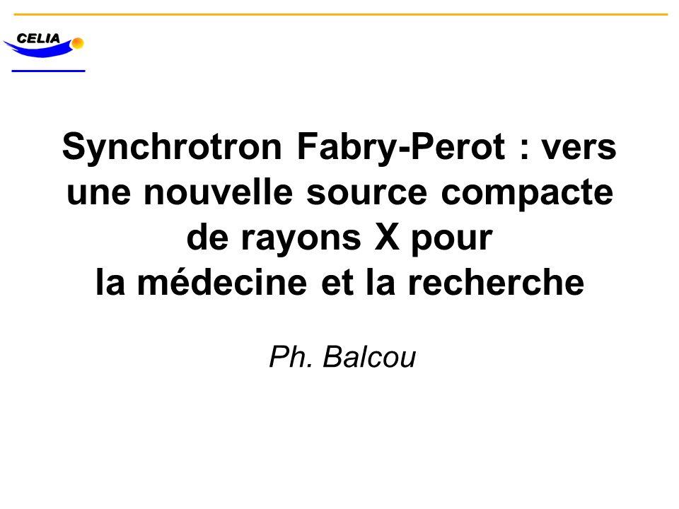 Synchrotron Fabry-Perot : vers une nouvelle source compacte de rayons X pour la médecine et la recherche