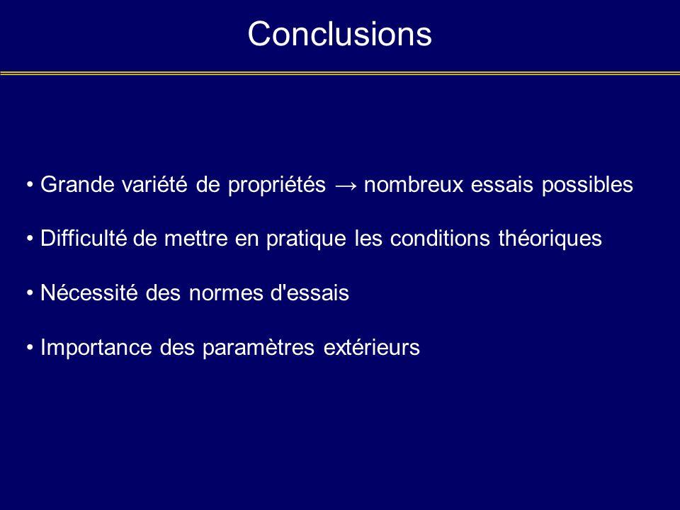Conclusions Grande variété de propriétés → nombreux essais possibles