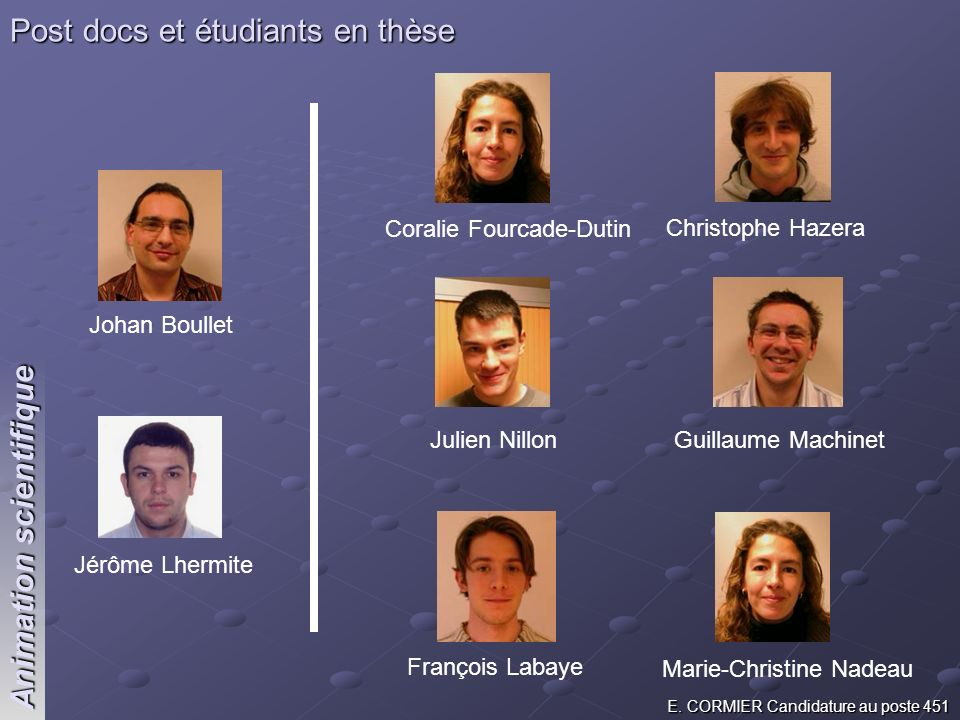 Post docs et étudiants en thèse