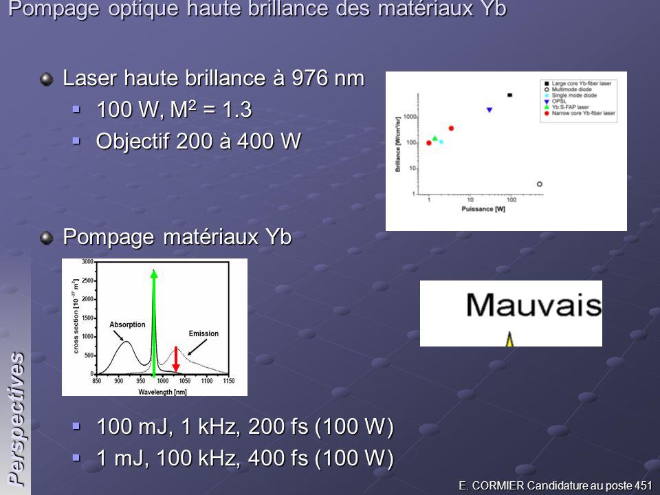 Pompage optique haute brillance des matériaux Yb