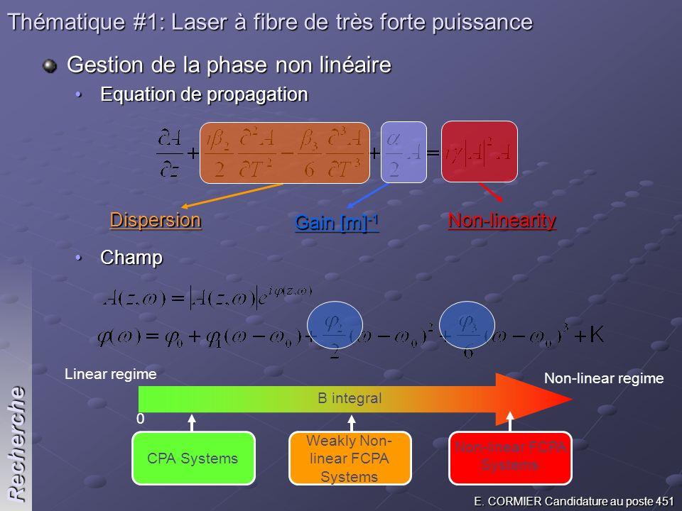 Thématique #1: Laser à fibre de très forte puissance